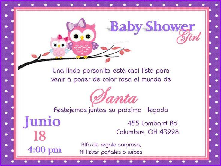 Invitacion De Búho Para Baby Shower Niña
