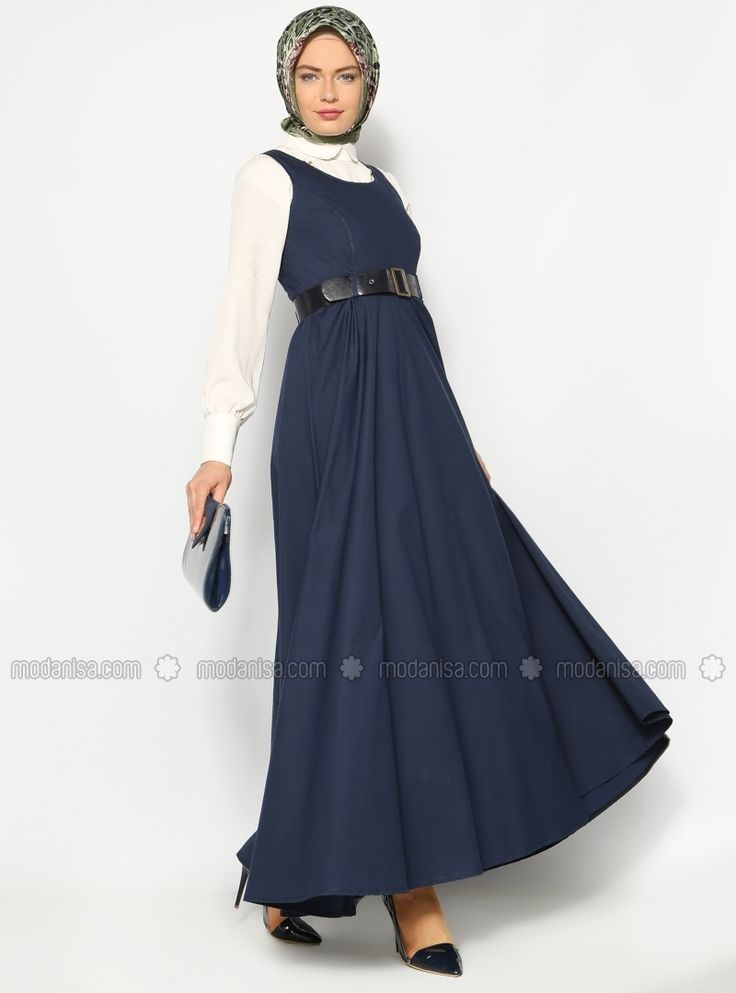 Kemerli Jile Elbise - Lacivert - Sultan- ı Yegah