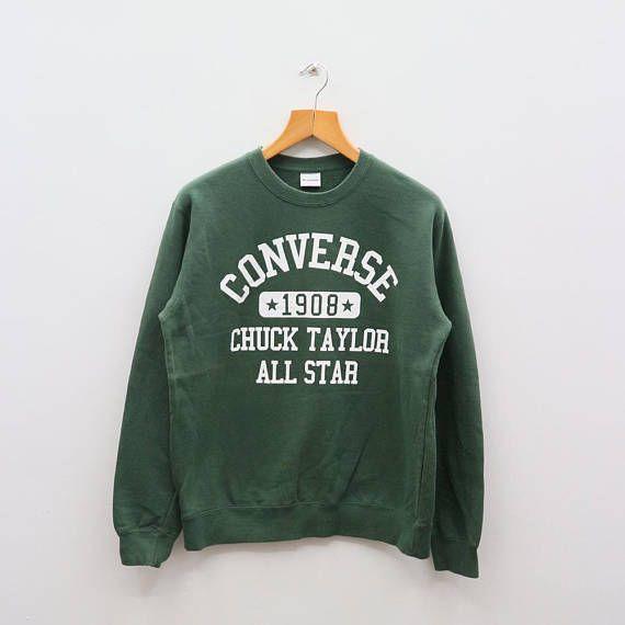 3cf73e883dec7 Vintage CONVERSE Chuck Taylor All Star Streetwear Green Pullover ...