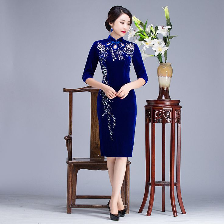 >> Click to Buy << 2017 Autumn Bride Mother Velvet Cheongsam Wedding Chinese Traditional Dress Qipao Oriental Style Dresses Robe Mariage Femme Blue #Affiliate