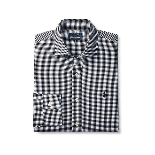 Polo Ralph Lauren Slim-Fit Gingham Dress Shirt ($99) ❤ liked on Polyvore featuring men's fashion, men's clothing, men's shirts, men's dress shirts, mens slim fit shirts, mens button down dress shirts, mens embroidered dress shirts, mens long sleeve button up shirts and mens short sleeve dress shirts
