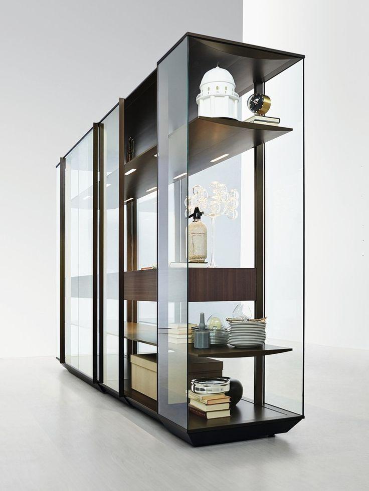 Glass and aluminium display cabinet / wardrobe KRISTAL - MOLTENI & C.