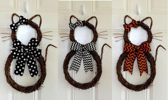 Ghirlanda di Halloween gatto corona Whimsical Halloween corona caduta ghirlanda Wicked Witch corona Grapevine Black Cat porta ghirlande