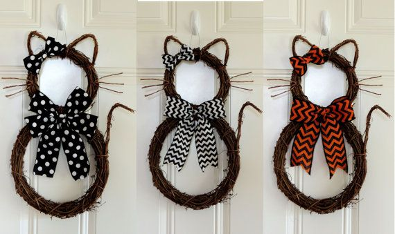 Please note: You will receive only one Cat wreath. Pictures showed example of the style available. This perfectly cute, Grapevine Kitty Cat wreath is perfect for your front door, to hang on the wall, interior door. Her name is kitty BOO. She is really whimsical and not too spooky for Halloween. This wreath is shaping and assembling by me from start to finish. This is my original one I made so more style will come out in the future. It a little harder than bunny wreath to shape it. You can…