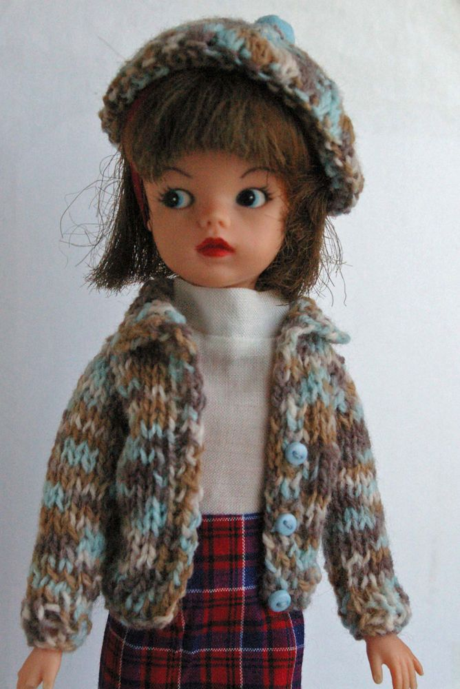 Multi colour Sindy Dolls cardigan and Beret + for Tammy Tressy Barbie Tilda Susi