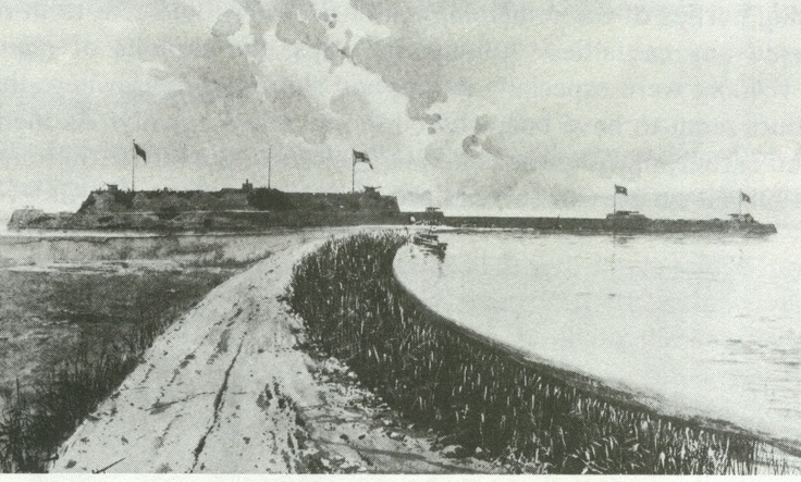 Causeway leading to the North and Norwestern Dagu fortresses.  The British and Italians then led the way on the assault of the North Fort which was soon captured.