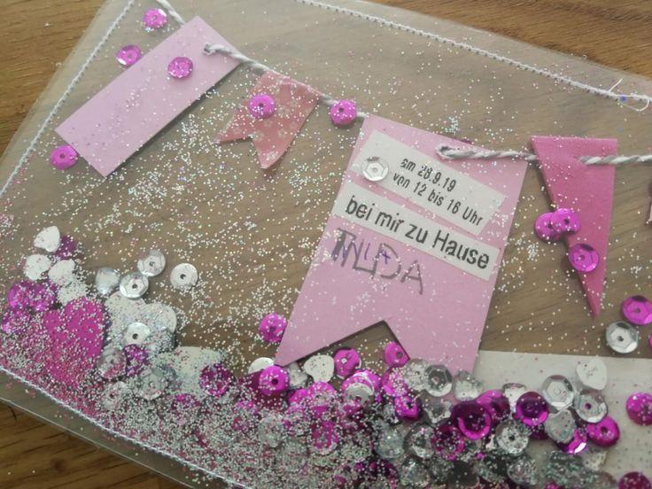 diy einladungen kindergeburtstag glitzer- schüttelkarte