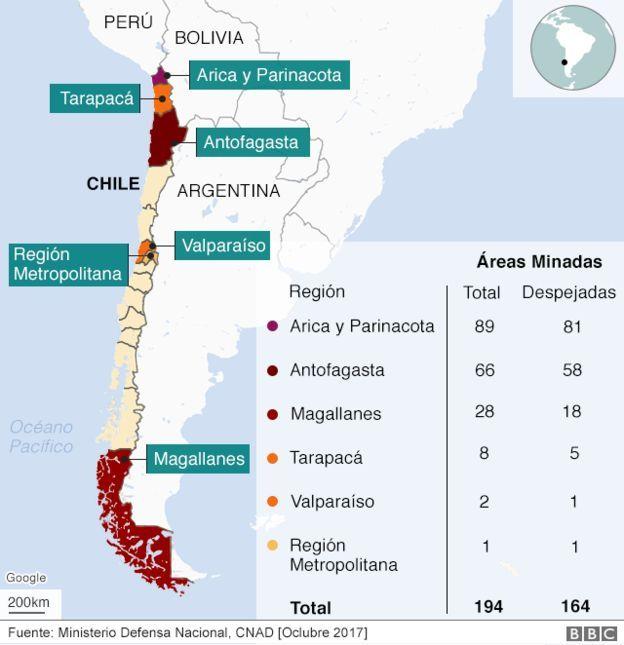 Áreas minadas en Chile según la región.