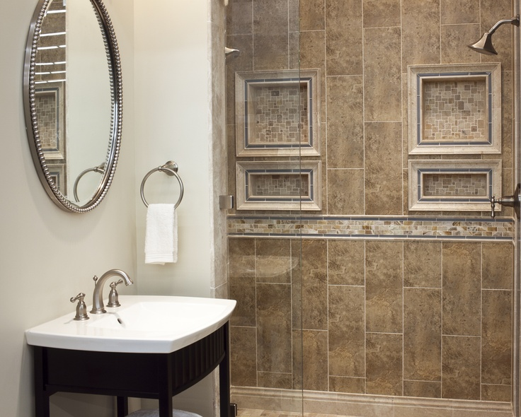 Delightful Imperial Beige Ceramic Wall Tile Shower.