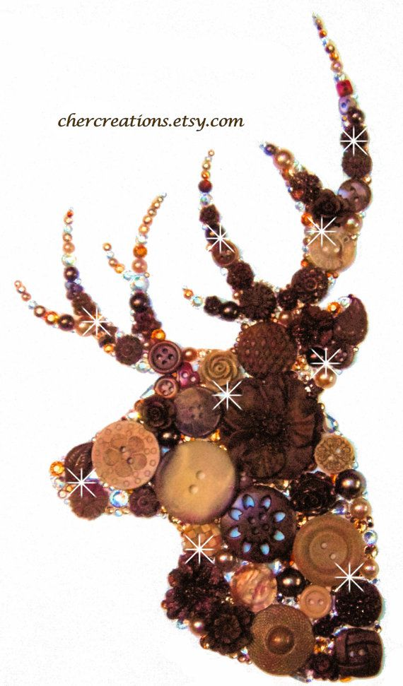 DEER HEAD, #08 8×10, Button Artwork, Button Art work, Searching, nation, animals, zoo, wild, black, bronze, diy, ooak, wall artwork, collages, den artwork