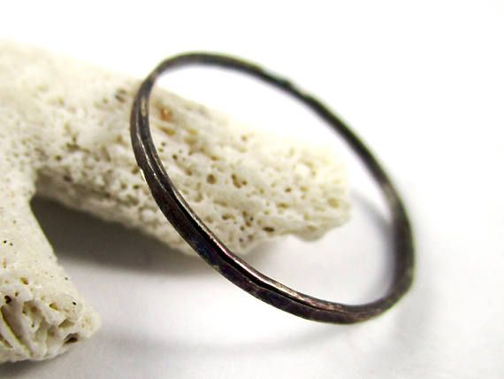 Patinaed Hammered Ring 18g Stackable Sterling Silver