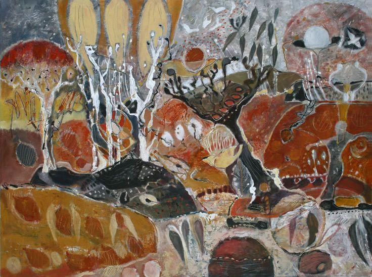 """Moon Dance"" by Sandipa - mixed media on canvas, 92 x 122 cm"