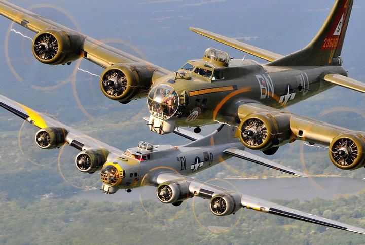 "Boeing B-17 Flying Fortress ""Thunderbird"" and ""Liberty Belle"" in Flight"