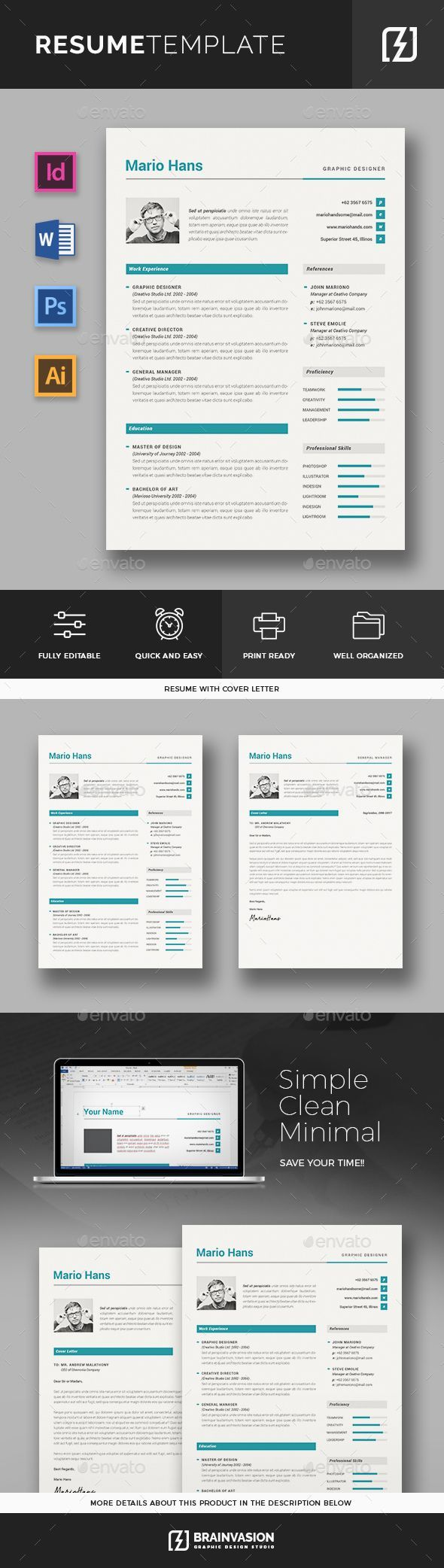 Resume Template PSD InDesign INDD AI MS