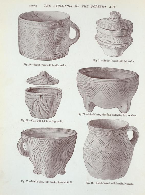Vessels from the ancient British barrows: Fig. 20-25, Bronze Age. (Illustrations to the T. Sheppard's article.).]