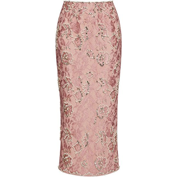 Emilia Wickstead Pencil Skirt With Crystals (12.745.740 COP) ❤ liked on Polyvore featuring skirts, emilia wickstead, trumpet skirt, pink pencil skirt, high rise pencil skirt and beaded pencil skirt