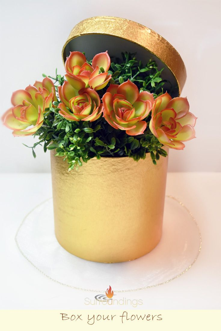 Gift Box Your Flowers In Hat Boxes And Create Beautiful Hat Box Centerpieces Hatboxcenterpiec Flower Box Centerpiece Flowers Bouquet Gift Floral Arrangements