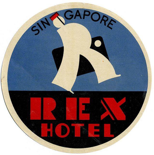 Singapore REX HOTEL  by Art of the Luggage Label