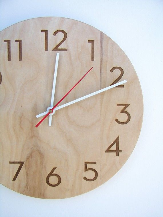 10 inch modern wood wall clock by uncommon on Etsy