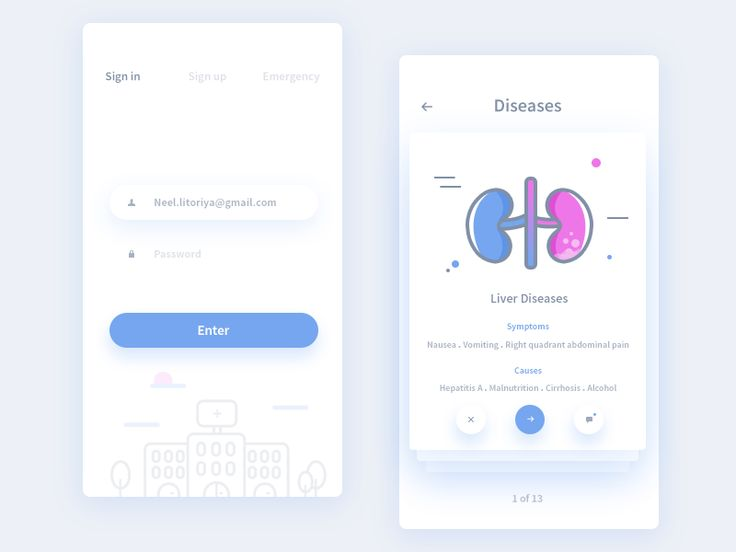 Sign in and diseases screens from the medical app, Diseases screens show the treatable diseases and general info about that. User can have a live conversation with doctor about that particular dise...