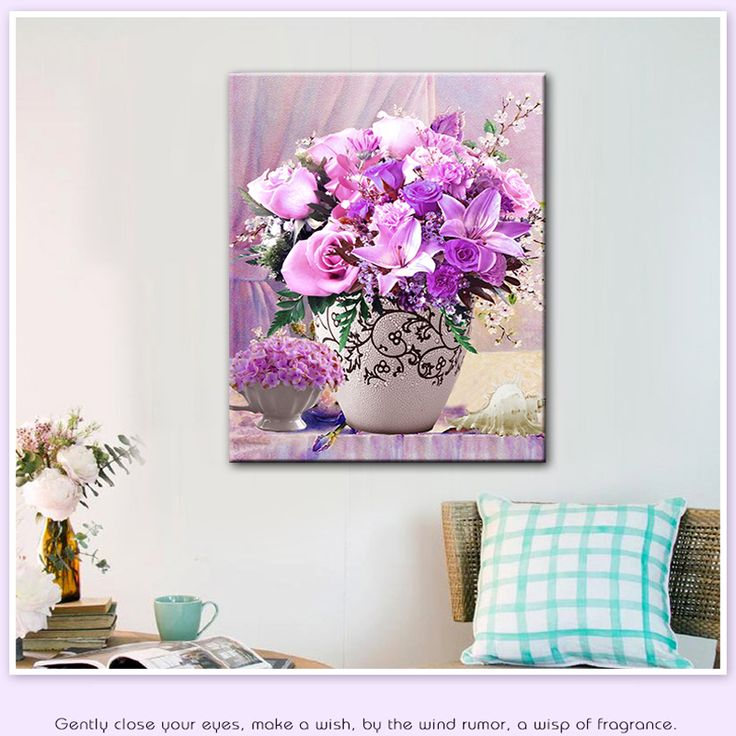 5D алмаз вышивка мозаика фиолетовый цветок поделки алмазов картина рукоделие красивая sementes де флорес холст украшение дома купить на AliExpress