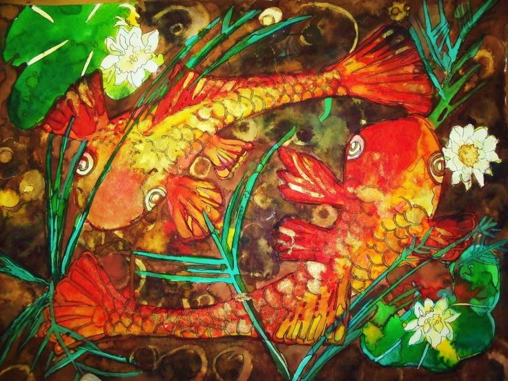 Ink Khoi Fish Pond Painting