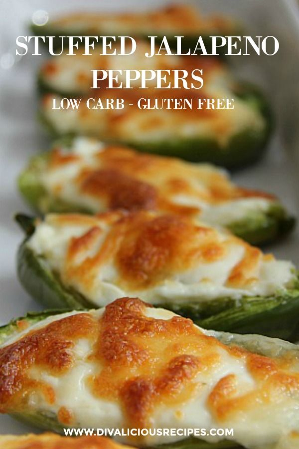 Stuffed jalapeno peppers are filled with cream cheese and baked with a topping of melted cheese. A delicious combination of spicy and creamy.