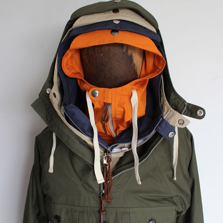 Tryfan Anorak by Hawkwood Mercantile in orange, navy, stone & olive. Contact: richard@hawkwoodmercantile.com
