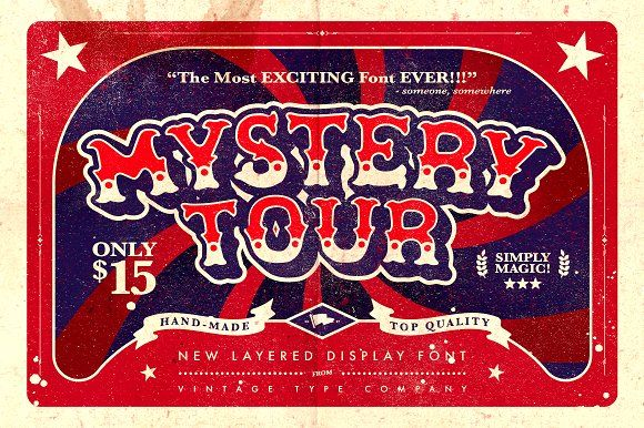 @newkoko2020 Mystery Tour Display Font by Vintage Type Co. on @creativemarket #bundle #set #discout #quality #bulk #buy #design #trend #vintage #vintagegraphic #graphic #illustration #template #art #retro #icon