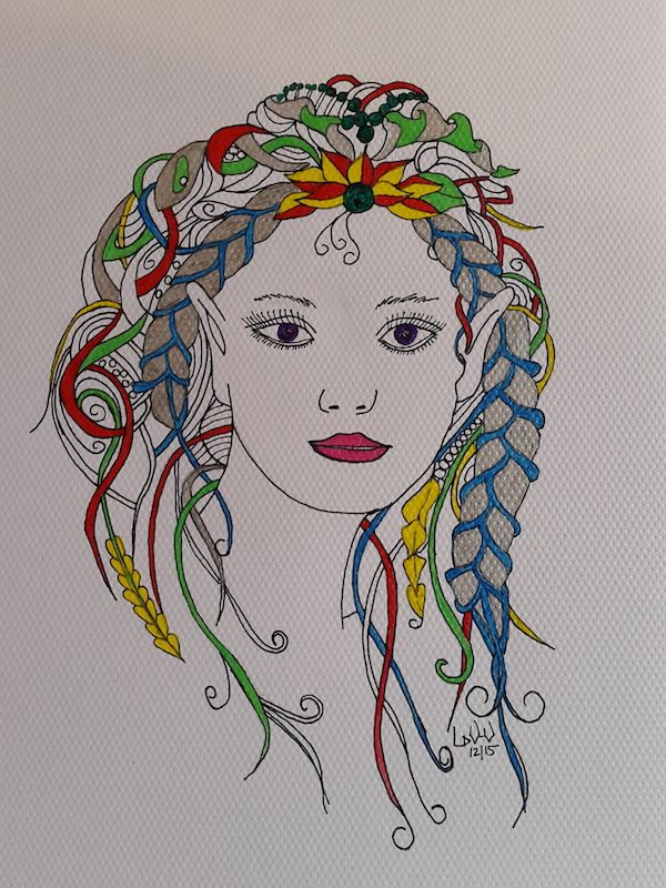 Fairy Fun - zentangle, with acrylic paint and black marker on gouache paper. A3 size.