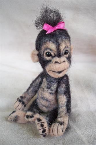 Needle felted monkey by Lynn Holley.