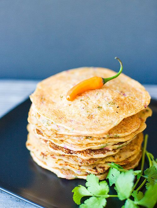 Indian Savory Pancakes (Semolina and Yogurt Pancakes) from Indian Simmer
