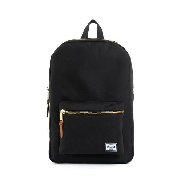 """The Settlement is a practical backpack that pairs vintage style with modern construction. Signature striped fabric liner 15"""" laptop sleeve Exposed brass zippers"""