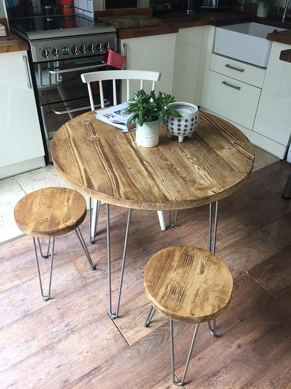 Reclaimed Round Dining Table Set On Hairpin Legs Industrial Rustic