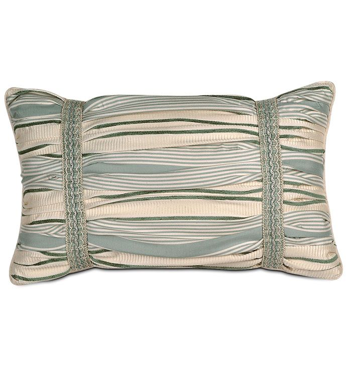 LUXEMBOURGH SPA RUCHED - ruched victorian pillow,ruched traditional pillow,ruched pillow,blue and white pillow,blue and cream,gathered pillow,blue victorian pillow,striped pillow,horizontal stripe,trim