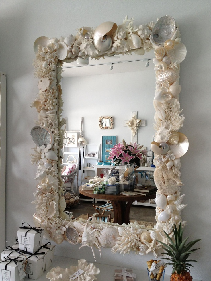 Shell Mirror Seashell Crafts Beach House Decor Decor