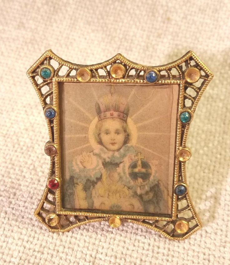 vintage antique jeweled miniature gold metal picture frame w saint