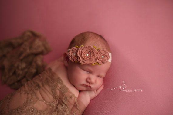 Diadema flor de fieltro, cinta bebé, Rosa pomelo rosa diadema, fieltro rosa Garland venda, niños niñas rosa venda, fotos Prop