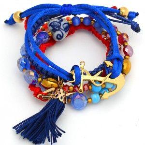 Pulsera Ancla Azul Roja. Compra tus accesorios desde la comodidad de tu casa u oficina en www.dulceencanto.com