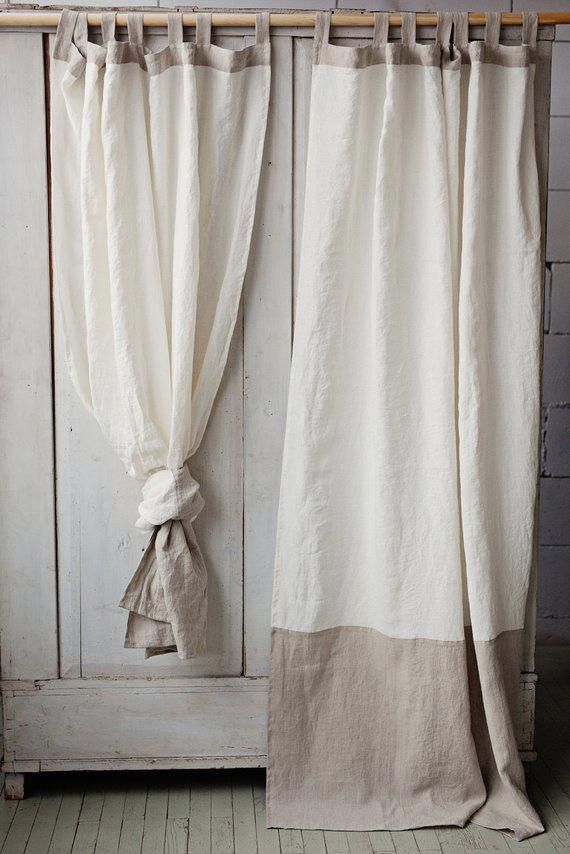 Tab Top Linen Curtain Panel In Two Colors Off White And Natural