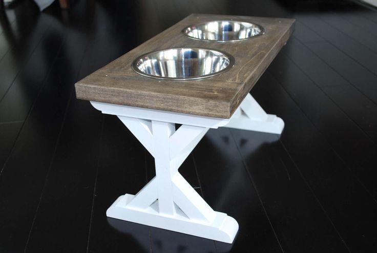Medium - Dog Bowl Stand - Raised Dog Feeder - Farmhouse Table - Elevated Dog Bowl - Dog Feeder - Dog Food Stand - Dog Bowl Holder - by BillsCustomBuilds on Etsy https://www.etsy.com/listing/518311723/medium-dog-bowl-stand-raised-dog-feeder