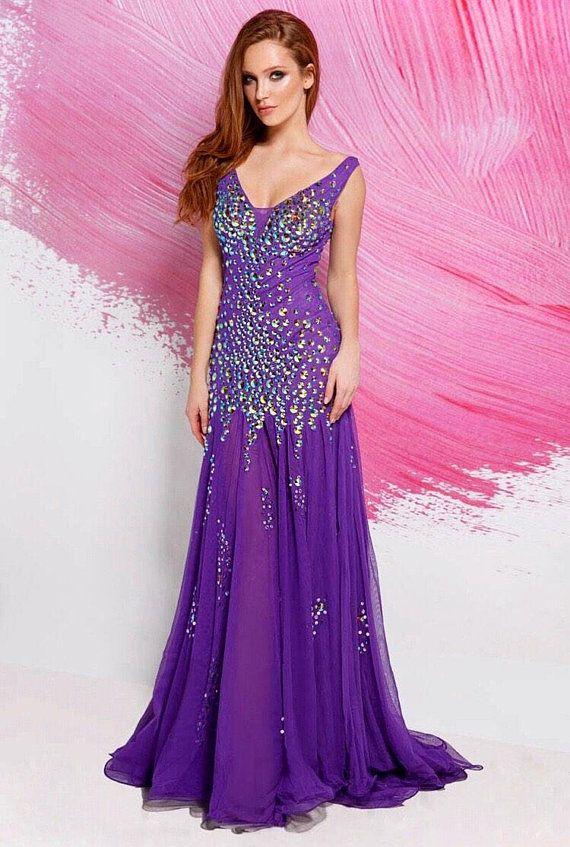 Purple evening long dress. Maxi prom dress with shiny stones. Dress for  bridalmaids. Pink silk chiff   Products   Dresses, Purple, Prom dresses 731ab71949b