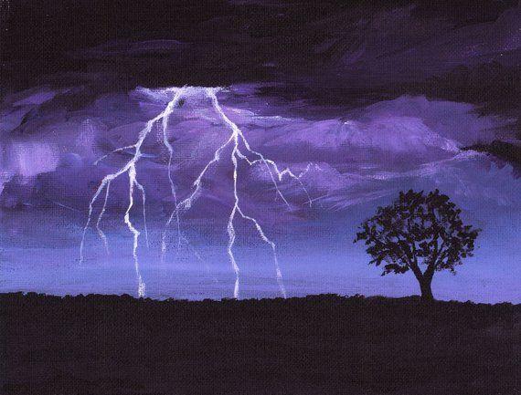 Lightening Print, Summer Storm, Night Sky, Print of Original Acrylic Painting to fit 11×14 Frame