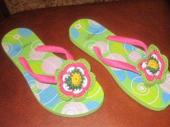 flip flops with flower handmade crochet by crochetbytrilli on Etsy