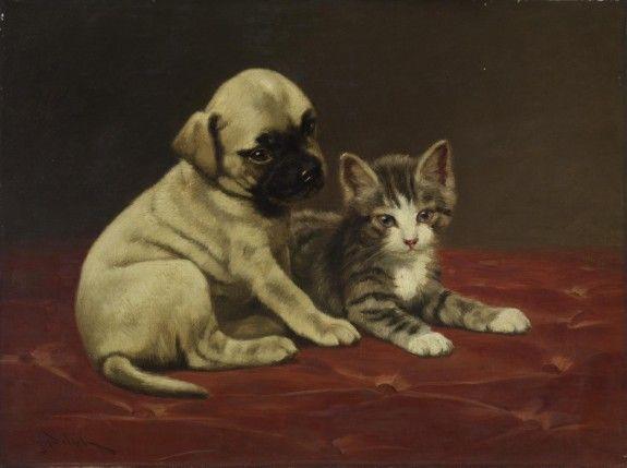 Good Friends John Henry Dolph Walters Muzeum koty i kocięta w sztuce