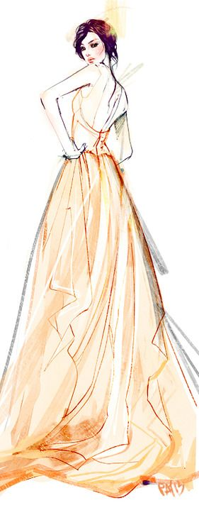 elegance in apricot orange.happy friday. - CAFFEINATED : Fashion Illustrations of Ieatcoffee