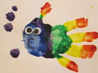 Rainbow Fish Handprint Art