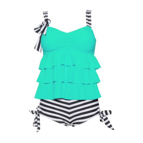 Bowknot Embellished Stripe print Green Tankini (26 CAD) ❤ liked on Polyvore featuring swimwear, bikinis, swimsuits, green, tankini swimwear, print bikini, striped bikini, green tankini and print swimwear