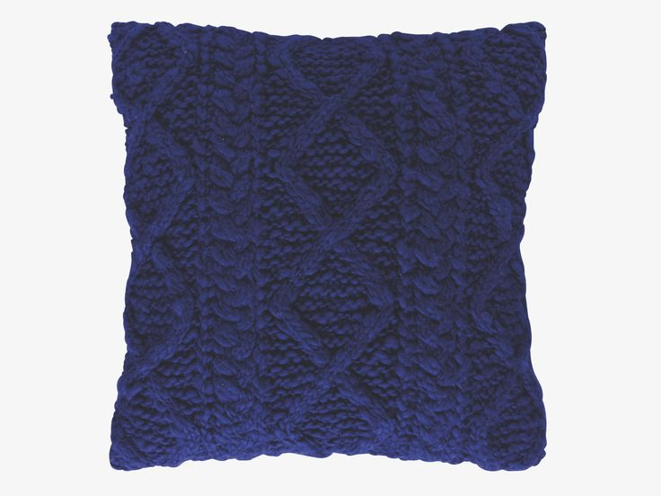 KELBY BLUES Wool blend 50 x 50cm blue cable-knit cushion