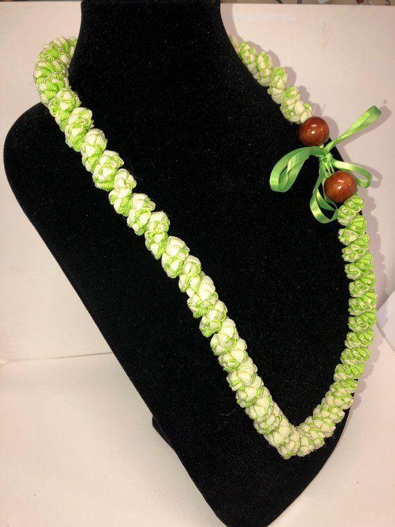 Lei pikake,ribbon lei,green white lei, white lei,wedding lei,hawaiian wedding lei,handmade in hawaii,jasmine lei